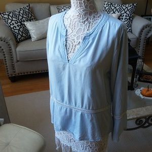 Anthropologie CLOTH & STONE Boho CHAMBRAY TOP SZ L